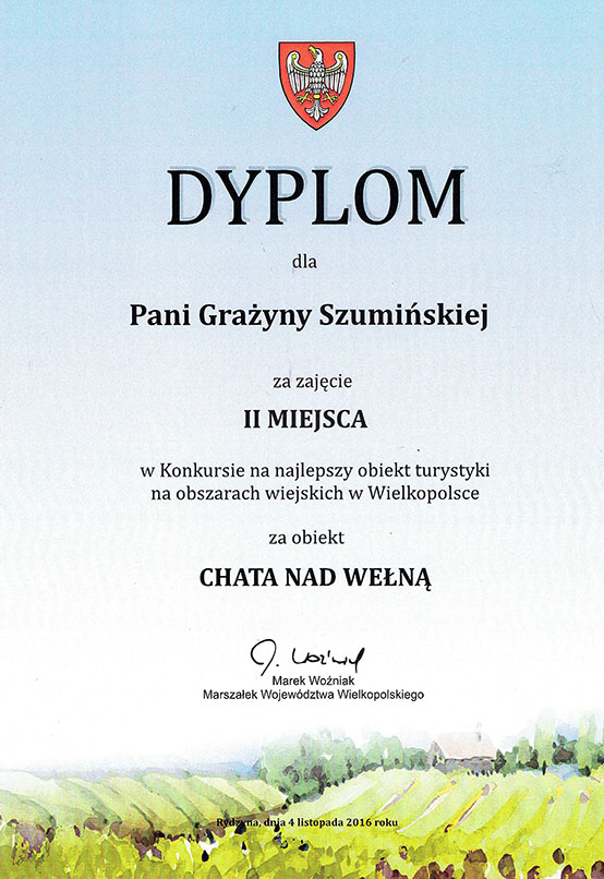 Chata nad wełną - laureat konkursu na najlepszy obiekt turystyki na obszarach wiejskich